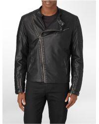 Calvin Klein White Label Asymmetrical Zip Close Faux Leather Biker Moto Jacket - Lyst