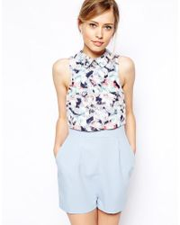 Asos Playsuit with Racer Front in Burnout Floral - Lyst