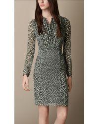 Burberry Floral Print Silk Dress - Lyst