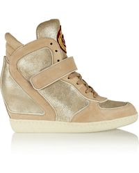 Ash Brendy Metallic Leather And Suede Wedge Sneakers - Lyst