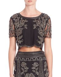 Haute Hippie | Embellished Cropped Top | Lyst