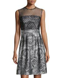Alice Olivia Alice Olivia Clover Lace Fitted Midi Dress