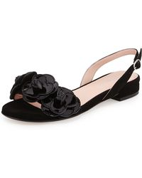 Taryn Rose Ida Suede Flower Slingback Sandal - Lyst