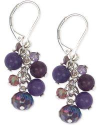 Jones New York - Silver-tone Purple Bead And Stone Cluster Earrings - Lyst