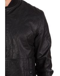 Nudie Jeans Cedric Bomber Leather Jacket in Black