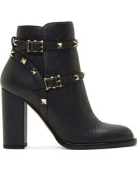 Valentino Black Grained Leather Rockstud Strap Ankle Boots - Lyst