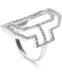 Fallon - Sterling Silver Emerald Silhouette Cut-out Ring - Lyst