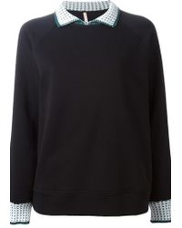 No Ka 'oi Crochet Collar And Sleeve Sweatshirt - Lyst