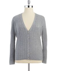 Anne Klein Plus Cable Knit and Metallic Cardigan - Lyst