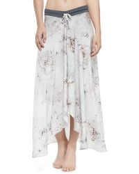 Letarte Printed Arched-hem Coverup Skirt Multi X-small - Lyst