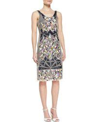 Nicole Miller Sleeveless Shattered Glass Pattern Cocktail Dress - Lyst
