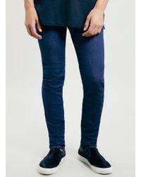 Topman Raw Bright Blue Dexter Stretch Skinny Jeans - Lyst