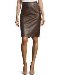 Lafayette 148 New York Modern Leather Pencil Skirt - Lyst