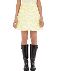 Balenciaga Brush-Print Mikado Skirt yellow - Lyst