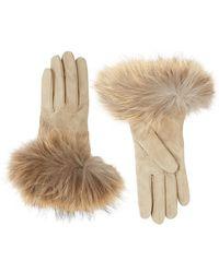 Weekend by Maxmara - Fox Trim Suede Gloves - Lyst
