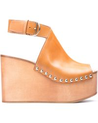 Bally Wystan Light Cuoio Leather and Wood Wedge - Lyst