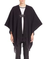 Generation Love Dion Buckled Fringe Poncho black - Lyst