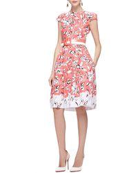 Oscar de la Renta Cap-Sleeve Flower Dress With Pockets - Lyst