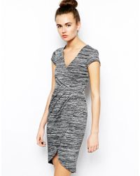 French connection Summer Space Dye Dress with Wrap Over Detail - Lyst