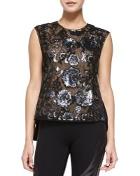 BCBGMAXAZRIA Savannah Long-back Sequined Top - Lyst