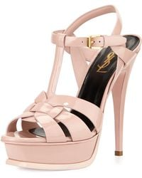 Saint Laurent Tribute Patent Leather Platform Sandal - Lyst