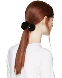 Meteo by Yves Salomon Black Fur Pom_pom Hair Tie
