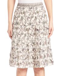 Tory Burch | Smocked Printed Cotton Skirt | Lyst