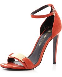 River Island Red Barely There Sandals - Lyst