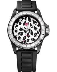Juicy Couture Womens Juicy Sport Black Textured Silicone Strap Watch 40mm - Lyst