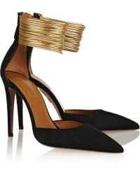 Aquazzura Hello Lover Cord-trimmed Suede Pumps - Lyst