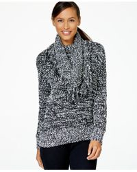 Charter Club Fringed Detachable-collar Sweater, Only At Macy's - Gray