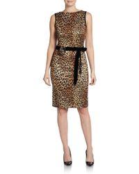St. John Cheetah Jacquard Sheath Dress - Lyst
