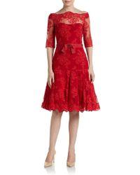 Marchesa Threequarter Sleeve Lace Cocktail Dress - Lyst