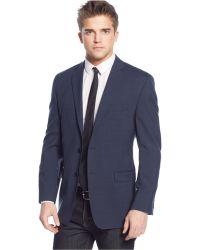 Calvin Klein Blue Plaid Slim-Fit Sport Coat blue - Lyst