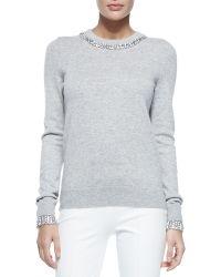 Michael Kors Embellished Cashmere Crewneck Sweater - Lyst