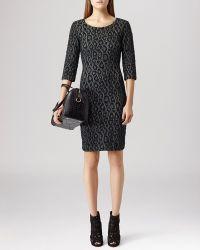 Reiss Dress - Houston Textured Metallic Leopard - Lyst