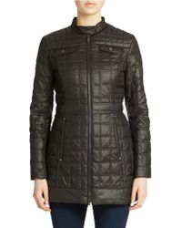 Laundry by Shelli Segal Quilted Faux Leather Coat - Lyst
