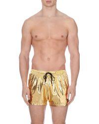Moschino Gold-foil Swim Shorts - Lyst