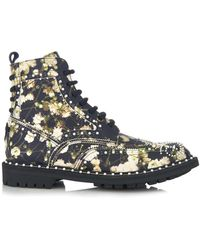Givenchy Floral-Print Embellished Leather Ankle Boots - Lyst