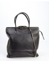 Valentino Black Leather 'Rockstud' Clasp Front Convertible Tote Bag - Lyst