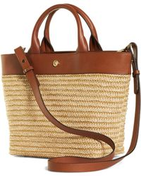 Brooks Brothers Small Leather And Straw Tote - Lyst