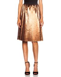 RED Valentino Pleated Metallic Poly Skirt - Lyst