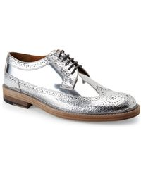Marc Jacobs Silver Metallic Wingtip Oxfords - Lyst