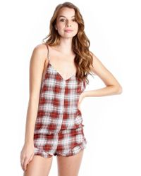 Wildfox | Ruffle Romper In Sunbleached Plaid | Lyst