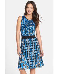Cynthia Steffe Jacquard Knit Fit & Flare Sweater Dress blue - Lyst
