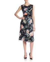 Armani Floral-Print Silk Satin Dress - Lyst