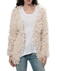Ryan Roche Fuzzy Jacket beige - Lyst