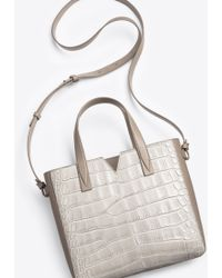 Vince Signature Collection Mixed Media Baby E/w Tote - Gray