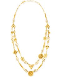 Jose & Maria Barrera 24K Yellow Gold Plated Medallion Ornament Long Necklace - Lyst