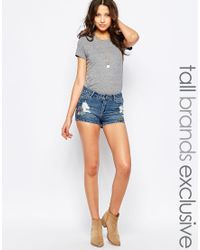 Noisy May Tall - Embroidered Denim Short - Lyst